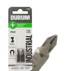 DURUM PH1 x 25mm Phillips Insert Screwdriver Bit - 2 Piece