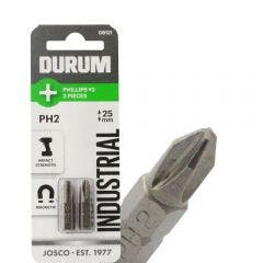 DURUM PH2 x 25mm Phillips Insert Screwdriver Bit - 2 Piece