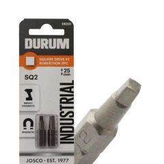 DURUM R2 x 25mm Robertson/Square Insert Screwdriver Bit - 2 Piece