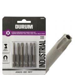 DURUM TR10-TR30 x 50mm Torx Security Power Screwdriver Bits - 6 Piece
