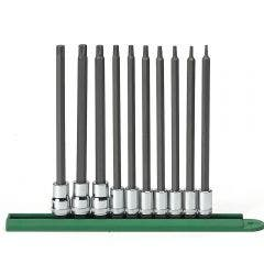 """GEARWRENCH 10 Pc. 1/4"""" & 3/8"""" Drive Long Torx® Bit Socket Set 80588"""