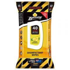 LIGHTNING Disinfectant Wipes XL - 40 Pack LTDISWIPES40