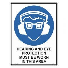 WILCOX SAFETY Mandatory Hearing & Eye Protection Sign 300mm x 225mm