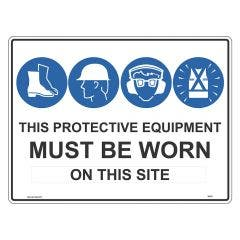 WILCOX SAFETY Protective Equipment Must Be Worn Sign 600mm x 450mm MSS1F4