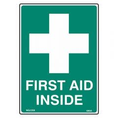 WILCOX SAFETY First Aid Emergency Sign - Metal 300mm x 225mm S695CM