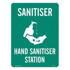 WILCOX SAFETY 300mm x 450mm Hand Sanitiser Station Emergency Sign - Poly S719JBP