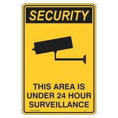 WILCOX SAFETY 600mm x 450mm This Area Under 24 Hour Surveillance Security Sign SC754AM