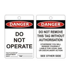 WILCOX SAFETY Do Not Operate Danger Tags 10 Pack 100mm x 150mm - Poly TAGPD2
