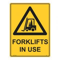 WILCOX SAFETY 600mm x 450mm Forklifts In Use Warning Sign - Metal W948AM