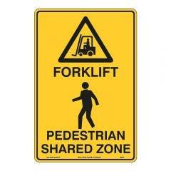 WILCOX SAFETY 450mm x 30mm Forklift Pedestrian Shared Zone Warning Sign W948CBM