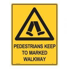 WILCOX SAFETY 450mm x 300mm Pedestrians Keep To Marked Walk Warning Sign W974BM