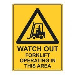 WILCOX SAFETY 600mm x 450mm Watch Out Forklift Warning Sign - Metal W998AM