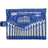 HRD Spanner Set Ring & Open End 24 Piece AF/Metric 6-22mm 1/4inch -1inch