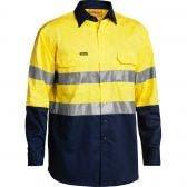 BISLEY 3M Taped Hi Vis Cool Long Sleeve Shirt Yel/Nvy BS6896SYELNVY