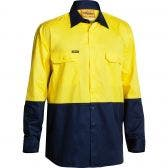 BISLEY Cool Liteweight Long Sleeve Shirt Yel/Nvy BS6895YELNVY