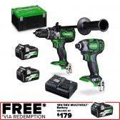 HiKOKI 36V MultiVolt™ Brushless 2 Piece 2 x 5.0Ah/2.5Ah Combo Kit KC36DBDL(HRZ)