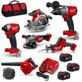 MILWAUKEE 18v Brushless 6 Piece 3 x 5.0ah Combo Kit M18FPP6A2-503B