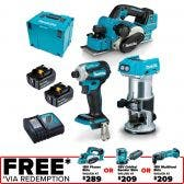 MAKITA 18V Brushless 3 Piece 2 x 5.0Ah Combo Kit DLX3134TJ
