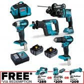 MAKITA 18V Brushless 4 Piece 2 x 5.0Ah Combo Kit DLX4125TX1
