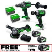 HiKOKI 36V Brushless 3 Piece 2 x 2.5Ah Combo Kit KC36DRBL2(HRZ)