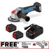 BOSCH 18v X-LOCK Brushless 2 x 8.0ah Angle Grinder Kit 0615990M0G