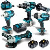 MAKITA 18V Brushless 4 Piece 2 X 5.0AH Combo Kit DLX4130TX1