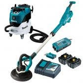 MAKITA 18V Brushless AWS 2 x 5.0Ah 225mm Drywall Sander & Vacuum Combo Kit DSL801RT-VC42L