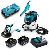 MAKITA 18V Brushless AWS 2 x 5.0Ah 225mm Drywall Sander & Vacuum Combo Kit DSL801RT-VC42M